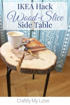 This IKEA Hack wood slice side table is a MUST if you are into DIYing your own furniture. IKEA Marius will provide the legs, a slice of lumber the table surface. Source by CML_Habiba Tree Slices, Wood Slices, Ikea Hacks, Upcycled Furniture, Diy Furniture, Redoing Furniture, Furniture Projects, Luxury Furniture, Diy Kallax