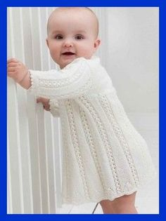 Baby Knitting Patterns White knitted lace baby robe, Free knitting pattern//Oh, I need I had considerably lady to make this for.so cute Baby Knitting Patterns