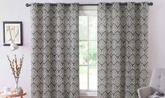 Bristol Printed Window Curtain Panel with Grommets | Groupon