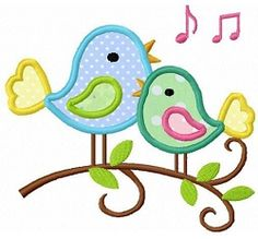 Twin Birds Singing Applique - 2 Sizes! | Alphabets | Machine Embroidery Designs | SWAKembroidery.com