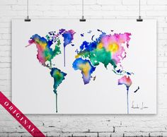 Abstract Painting - Original Watercolor Painting - World Map