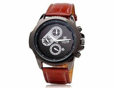 VALIA 9108 Men's Quartz Movement Analog Watch with Faux Leather Strap (Brown)