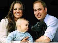 Catherine, Duchess of Cambridge, aka Kate Middleton, Prince William, Prince George and Lupo. She is wearing the Rodeo Shirt blouse by Temperley. Picture from Jason Bell, who also shot the christening pictures. released 03/29/14