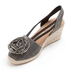 Gray Floral Wedge