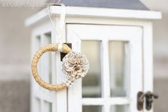diy Christmas ornament made out of a shower curtain ring!