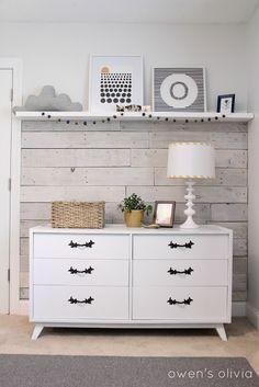 Shiplap Wall and Pallet Wall: 30 Beautiful DIY Wood Wall Ideas Decor, Furniture, Room, Pallet Wall, Plank Walls, Home Decor, Diy Wood Wall, Boys Bedroom Grey, Wood Pallet Wall