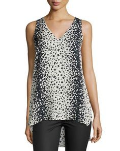 Leopard-Print V-Neck Top by Vince at Neiman Marcus.