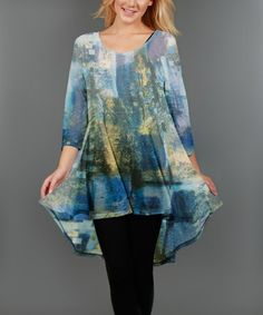 Look at this #zulilyfind! Blue & Yellow Abstract Hi-Low Tunic - Plus #zulilyfinds