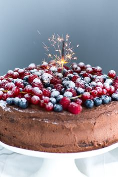 Chocolate Mascarpone Cake with Berries - thank you please