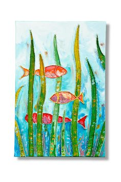 Fish In The Sea Collage Painting by Natalia Madunicka on Etsy  #art #painting #mixed #fish #sea #painting #collage #gift #present #colourful #decoration  #original