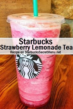 Starbucks Strawberry Lemonade Tea strawberry lemonade: Strawberry lemonade with equal parts black iced tea and lemonade Half the regular amount of strawberry Blend and enjoy! Starbucks Strawberry Lemonade, Lemonade Tea Recipe, Green Tea Lemonade, Smoothies, Smoothie Drinks, Refreshing Drinks, Fun Drinks, Beverages, Alcoholic Drinks