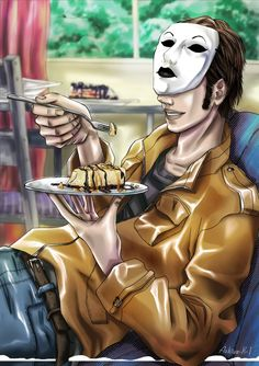 Masky and his cheesecake>> what if there was a movie were David tennant was madly and only in the end did he lift his mask...