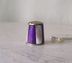Vintage Mother of Pearl Thimble Iridescent Purple Alpaca Mexico Hand Crafted Purple Thimble Sewing Room Thimble Collector by cynthiasattic on Etsy