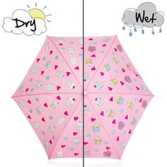 Holly&Beau Pink Cupcake Color Changing Umbrella