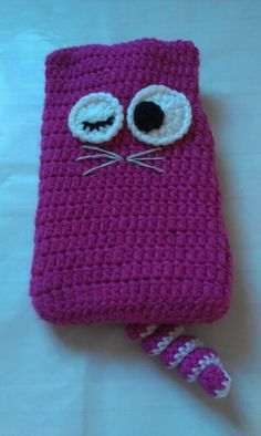 Crochet cat hot water bottle