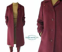 Vintage Exquisite Burgundy Wool Coat  Size S by BreatheandLetItBe