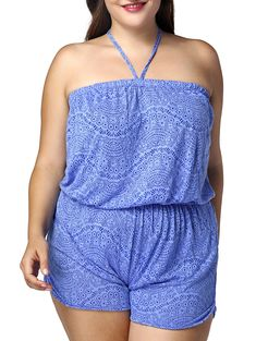 Casual Plus Size Halter Printed Romper For Women