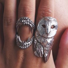 So in love with these  Vampire fang ring kasunlondon  Owl ring dominique_lucas @leannelimwalker