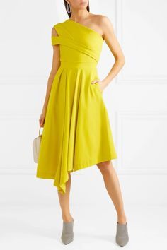 Preen by Thornton Bregazzi | Danica asymmetric pleated stretch-crepe dress | NET-A-PORTER.COM