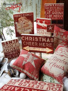 Christmas Pillows and Signs