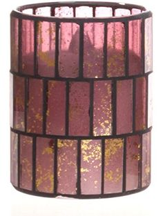 Pink with Gold Tiled Pattern Mosaic Glass with Flameless LED Candle with Timer ❤ DFL Pink Gray Bedroom, Led Candles, Tile Patterns, Mosaic Glass, Home Gifts, Pink Grey, Gold, Amazon, Home Decor