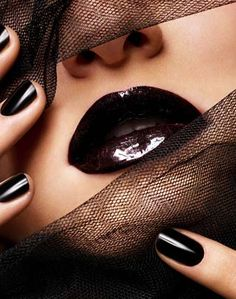 ~` blackberry lips and nails `~  #lips  #black