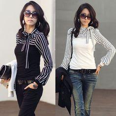 blusas de las mujeres 2015 Camisa de señoras de la oficina de la manera coreana delgada del soplo de manga larga Jersey de cuello alto a rayas blusa Tops feminina de la venta caliente