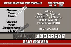 Football Sports Card Baby Shower Invitations - CHOOSE YOUR TEAM - Get these invitations RIGHT NOW. Design yourself online, download and print IMMEDIATELY! Or choose my printing services. No software download is required. Free to try!