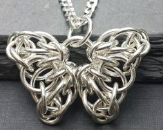 Celtic Butterfly Chainmail Pendant - Sterling Silver