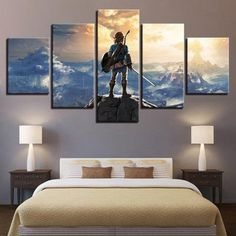 Home Decor Artwork Canvas Print 5 Panel The Legend Of Zelda Modern Frame For Painting Modular Picture Wall Art For Living Room