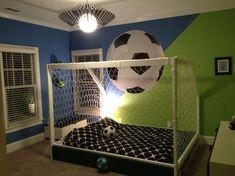 football bedroom Girls Soccer Bedroom To - football Kids Bedroom Sets, Bedroom Themes, Girls Bedroom, Blue Bedrooms, Bedroom Ideas, Boys Football Bedroom, Football Rooms, Kids Sports Bedroom, Bedroom Flooring