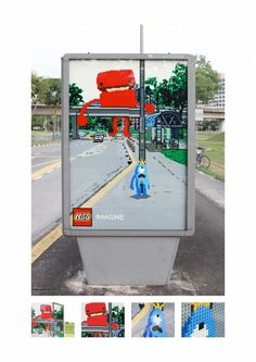 LEGO: This ad just won Silver at Cannes. Ogilvy Malaysia hired some local Lego artists to create the posters that play off of the surrounding environment. Yes, they're actually made of Lego bricks Creative Advertising, Out Of Home Advertising, Advertising Campaign, Advertising Design, Ads Creative, Advertising Poster, Advert Design, Guerrilla Advertising, Lego Creative