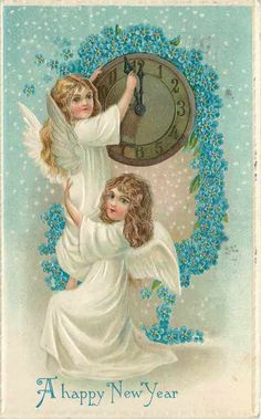 happy new year, old postcard