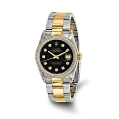 30cf2b6d8075 Certified Pre-Owned Rolex Steel 18ky Mens Diamond Black Watch Buy Rolex