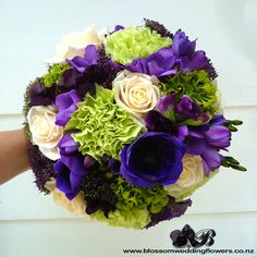 purple-green-wedding-bouque by Blossom Wedding Flowers, via Flickr