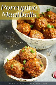"""No, these Porcupine Meatballs don't contain porcupine! These tender meatballs have riced cauliflower """"quills"""" and an herbed tomato sauce. Low-Carb and keto-friendly. 😋🍴😍 #lowcarb #keto #glutenfree #grainfree #Atkins #diabetic #Banting Beef Casserole Recipes, Meatball Recipes, Beef Recipes, Cooking Recipes, Healthy Recipes, Healthy Meals, Dairy Free Appetizers, Low Carb Appetizers, Beef Recipe Low Carb"""