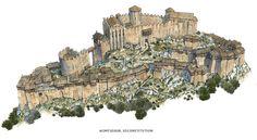 Château de Montségur - Ruined Medieval Cathar Castle in France Fantasy City, Fantasy Castle, Fantasy Map, Medieval Fantasy, Fantasy World, Level Design, Design Page, Medieval Houses, Medieval Castle