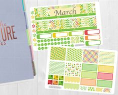 Pinning so I don't forget!! Remember to go back and check out Crafted By Corley on Etsy. March Monthly Sticker Set - Monthly View Stickers Erin Condren Vertical Horizontal and Hourly Planners Happy Planner Planner Stickers by CraftedByCorley