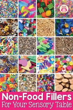 Here is a huge list of 80 non-food fillers along with mix-ins for your sensory table or sensory bin. Perfect for preschool, pre-k, kindergarten, or prep