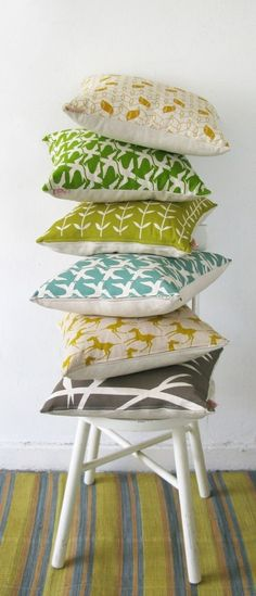 various pillow covers from skinny laminx on etsy, about $30 each