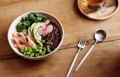 Smoked trout, wild rice and edamame bowl. Photo – Eve Wilson. Styling – Lucy Feagins. Styling assistant – Nat Turnbull.