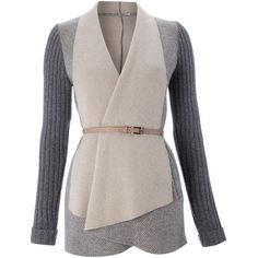 Marella Knitted open front cardigan with belt ❤ liked on Polyvore