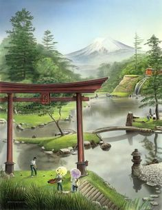 Painting of Fujiyama Gardens C. (a fantasy golf painting ; Fantasy Golf, Golf Painting, Golf Green, Masters Golf, Victoria Falls, Spring Blossom, Golf Courses, Bud, World