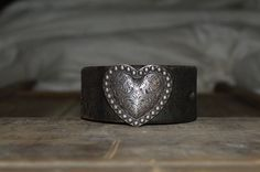 Women's Dark Brown Leather Bracelet With Heart and Rope Concho, Vintage Leather Cuff, Cowgirl Leather Bracelet. on Etsy, $42.00