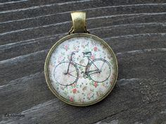 Vintage Bicycle Glass Tile Necklace Bicycle by Mysweetbijoushop