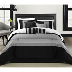 OVERSIZED AND OVERFILLED. Quilted Patchwork Comforter Set, Solid Color Block Tone on Tone comforter set is so perfectly put together. The solid Black and Grey Tones will give you a perfect Contemporar