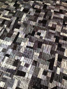 "Handmade twin size quilt ""Shades of Grey"" Monotone Black & Gray. $215.00, via Etsy."