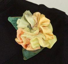 Leni Hoch hand-dyed silk flower pin, Lemon Talk $55.00