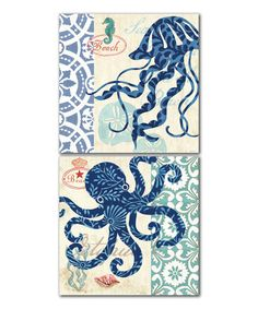 Another great find on #zulily! Sea Life Patterned Panel - Set of Two #zulilyfinds