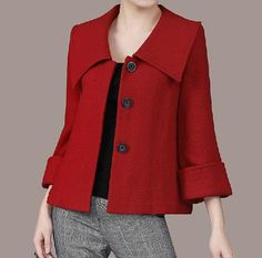 Women's Large lapel Petal Collars Wrap Sleeves Wool by zeniche Women's Large lapel Petal Co Blazer Outfits, Casual Outfits, Cute Outfits, Couture Dresses, Fashion Dresses, Look Fashion, Winter Fashion, Coats For Women, Clothes For Women